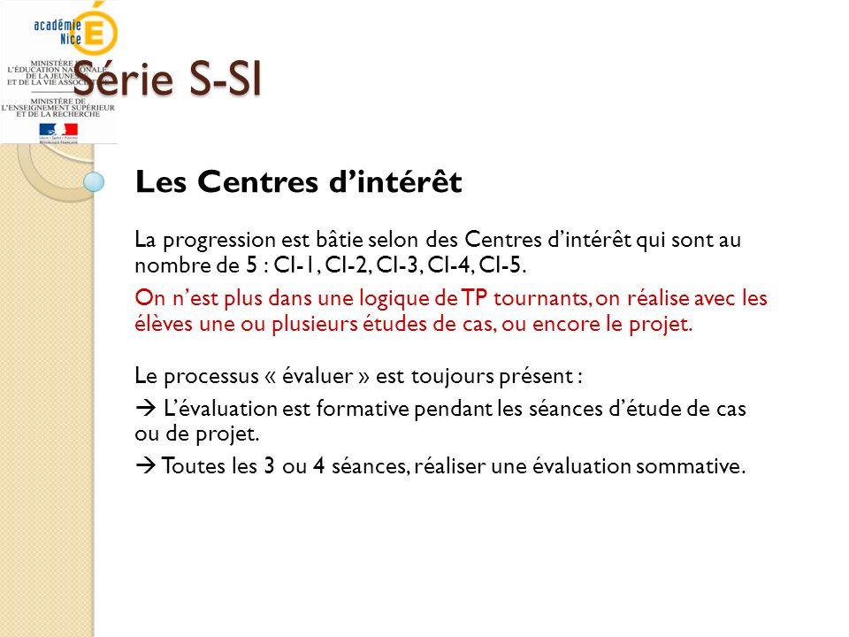 Série S-SI Les Centres dintérêt La progression est bâtie selon des Centres dintérêt qui sont au nombre de 5 : CI-1, CI-2, CI-3, CI-4, CI-5. On nest pl