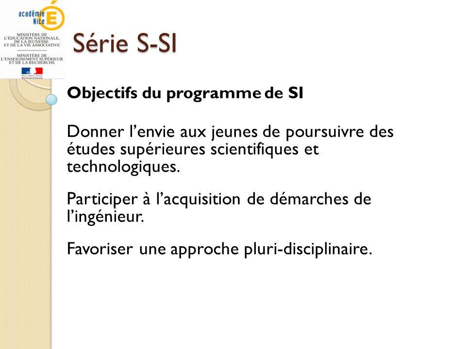 Série S-SI Objectifs du programme de SI Donner lenvie aux jeunes de poursuivre des études supérieures scientifiques et technologiques. Participer à la