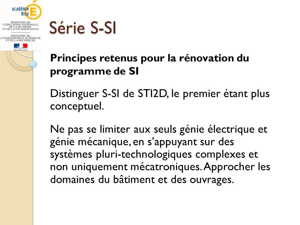 Série S-SI Différences entre Bac S-SI et STI2D Les cheminements sont différents : S-SI : Analyser, STI2D : Expérimenter Démarche : S-SI : déductive, STI : inductive / déductive Conséquences : - Les laboratoires sallègent, les équipements sont moins onéreux.