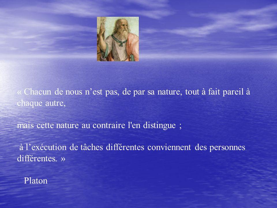 « Chacun de nous nest pas, de par sa nature, tout à fait pareil à chaque autre, mais cette nature au contraire l en distingue ; à lexécution de tâches différentes conviennent des personnes différentes.