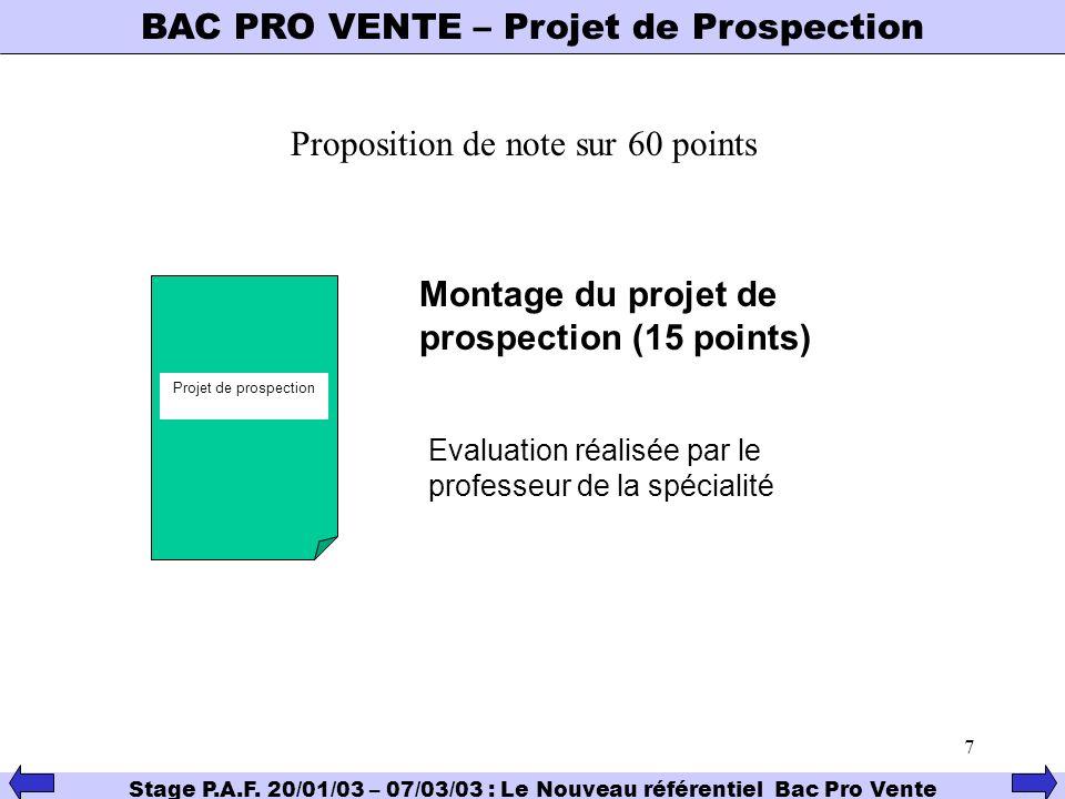 7 BAC PRO VENTE – Projet de Prospection Stage P.A.F. 20/01/03 – 07/03/03 : Le Nouveau référentiel Bac Pro Vente Proposition de note sur 60 points Proj