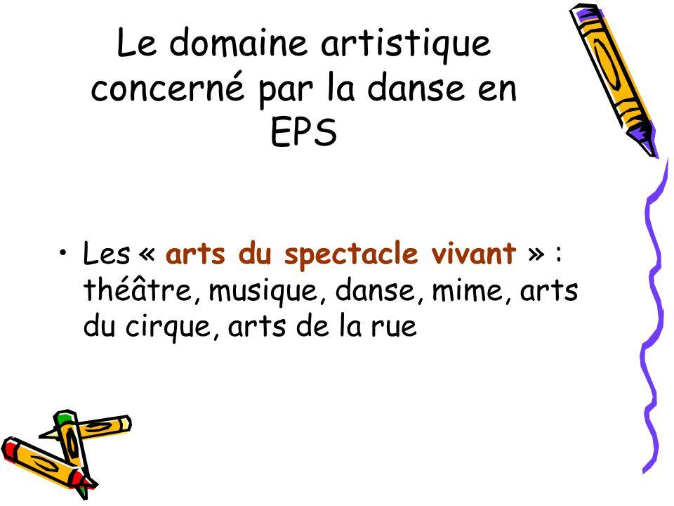 Le domaine artistique concerné par la danse en EPS Les « arts du spectacle vivant » : théâtre, musique, danse, mime, arts du cirque, arts de la rue