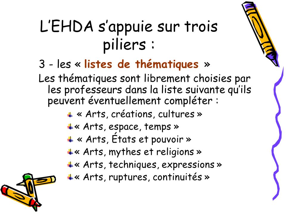 LEHDA sappuie sur trois piliers : 3 - les « listes de thématiques » Les thématiques sont librement choisies par les professeurs dans la liste suivante