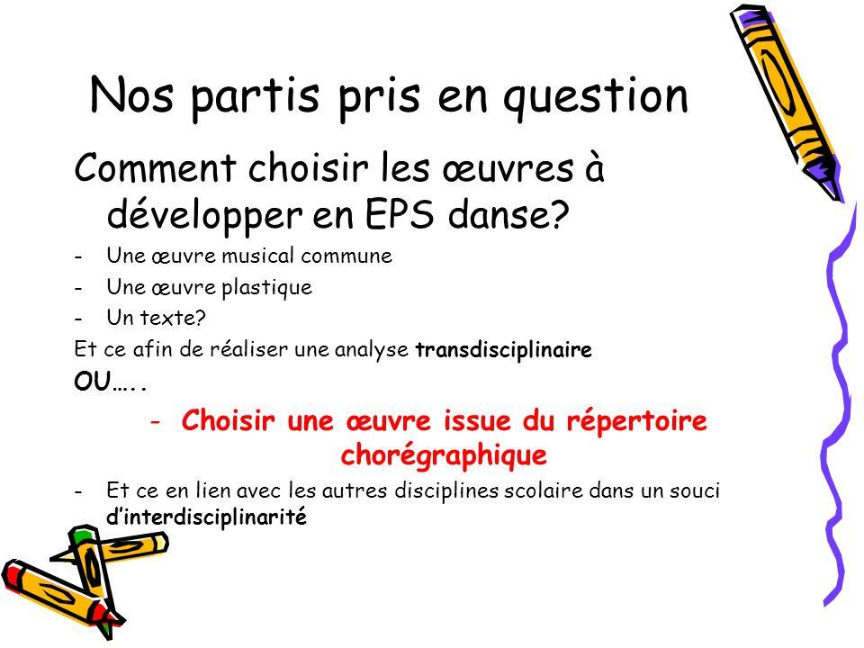 Nos partis pris en question Comment choisir les œuvres à développer en EPS danse? -Une œuvre musical commune -Une œuvre plastique -Un texte? Et ce afi