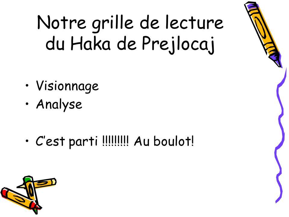 Notre grille de lecture du Haka de Prejlocaj Visionnage Analyse Cest parti !!!!!!!!! Au boulot!