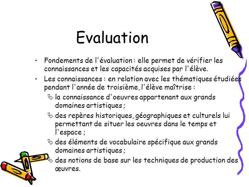 Evaluation Fondements de l'évaluation : elle permet de vérifier les connaissances et les capacités acquises par l'élève. Les connaissances : en relati