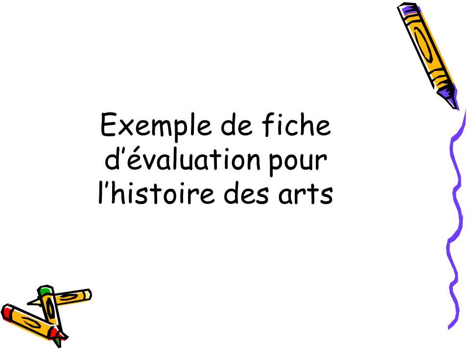 Exemple de fiche dévaluation pour lhistoire des arts