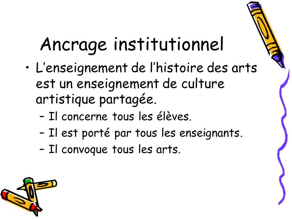 Ancrage institutionnel Lenseignement de lhistoire des arts est un enseignement de culture artistique partagée. –Il concerne tous les élèves. –Il est p