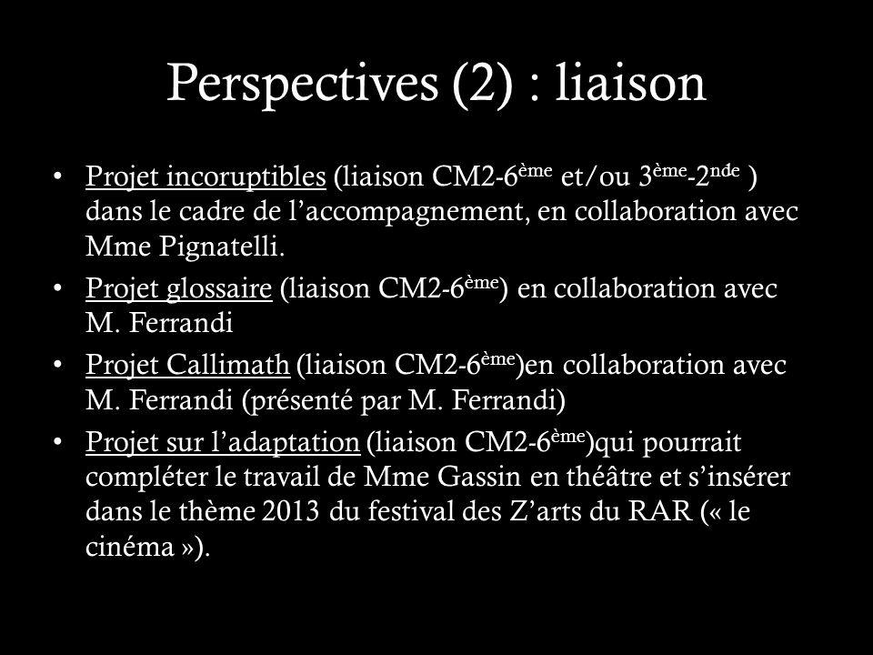 Perspectives (2) : liaison Projet incoruptibles (liaison CM2-6 ème et/ou 3 ème -2 nde ) dans le cadre de laccompagnement, en collaboration avec Mme Pignatelli.