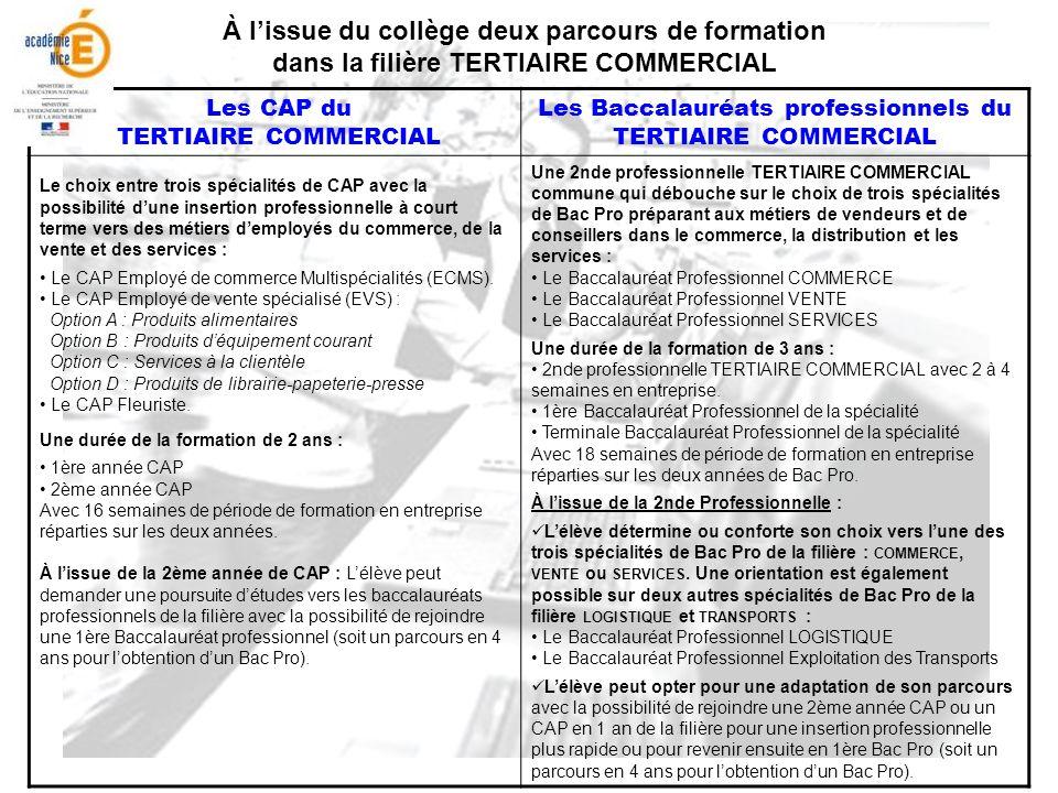À lissue du collège deux parcours de formation dans la filière TERTIAIRE COMMERCIAL Les CAP du TERTIAIRE COMMERCIAL Les Baccalauréats professionnels d
