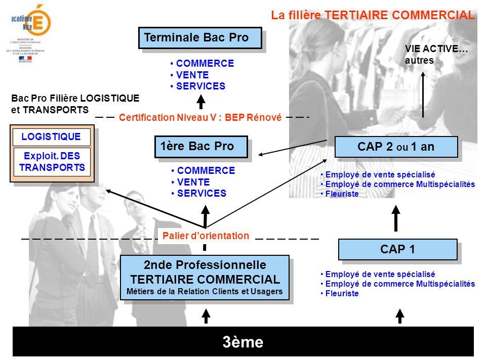 3ème 2nde Professionnelle TERTIAIRE COMMERCIAL Métiers de la Relation Clients et Usagers 2nde Professionnelle TERTIAIRE COMMERCIAL Métiers de la Relat