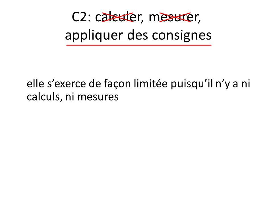 C2: calculer, mesurer, appliquer des consignes elle sexerce de façon limitée puisquil ny a ni calculs, ni mesures