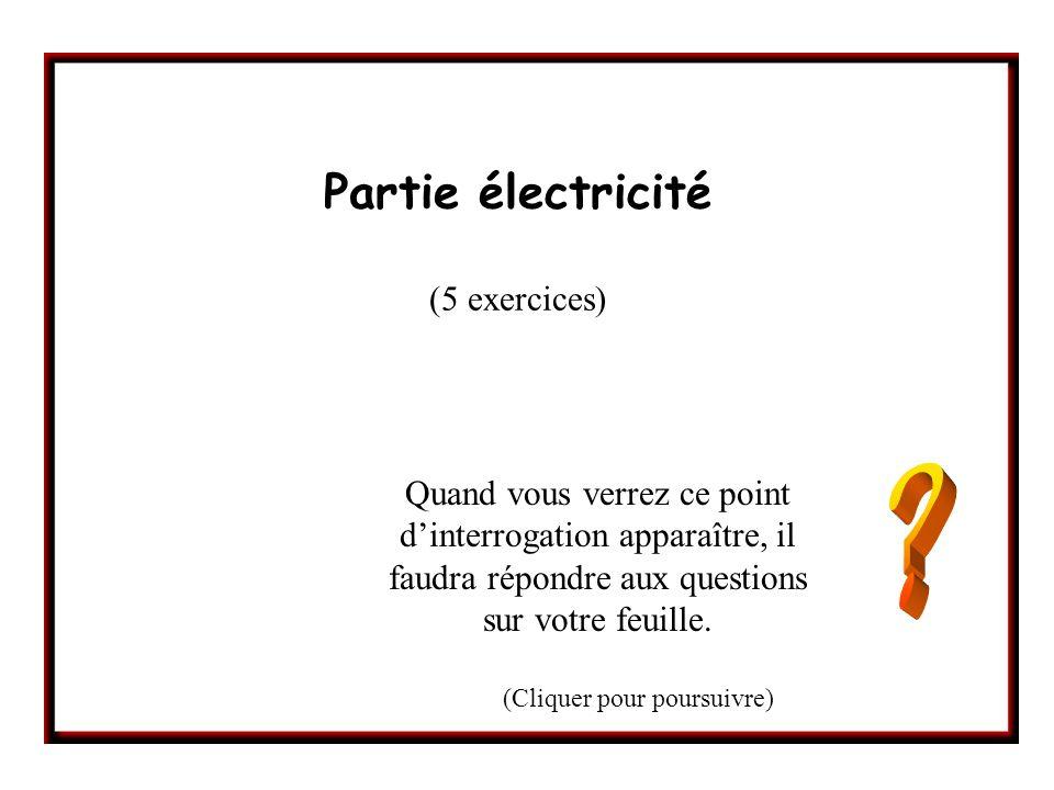 Partie électricité (5 exercices) Quand vous verrez ce point dinterrogation apparaître, il faudra répondre aux questions sur votre feuille. (Cliquer po