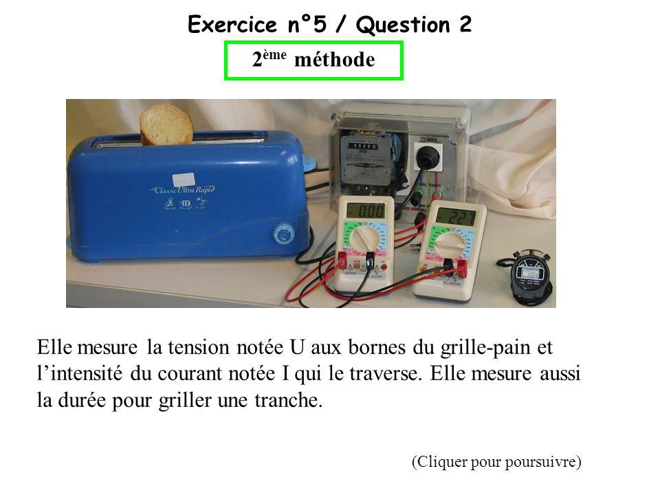 Exercice n°5 / Question 2 2 ème méthode Elle mesure la tension notée U aux bornes du grille-pain et lintensité du courant notée I qui le traverse. Ell