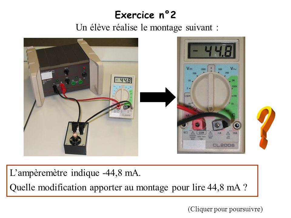 Exercice n°3 Le circuit électrique ci-dessous permet de mesurer la tension notée U aux bornes dune résistance et lintensité notée I du courant qui la traverse.