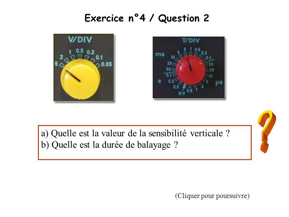 Exercice n°4 / Question 2 a) Quelle est la valeur de la sensibilité verticale ? b) Quelle est la durée de balayage ? (Cliquer pour poursuivre)