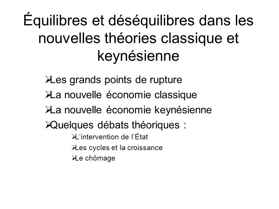 Équilibres et déséquilibres dans les nouvelles théories classique et keynésienne Les grands points de rupture La nouvelle économie classique La nouvel