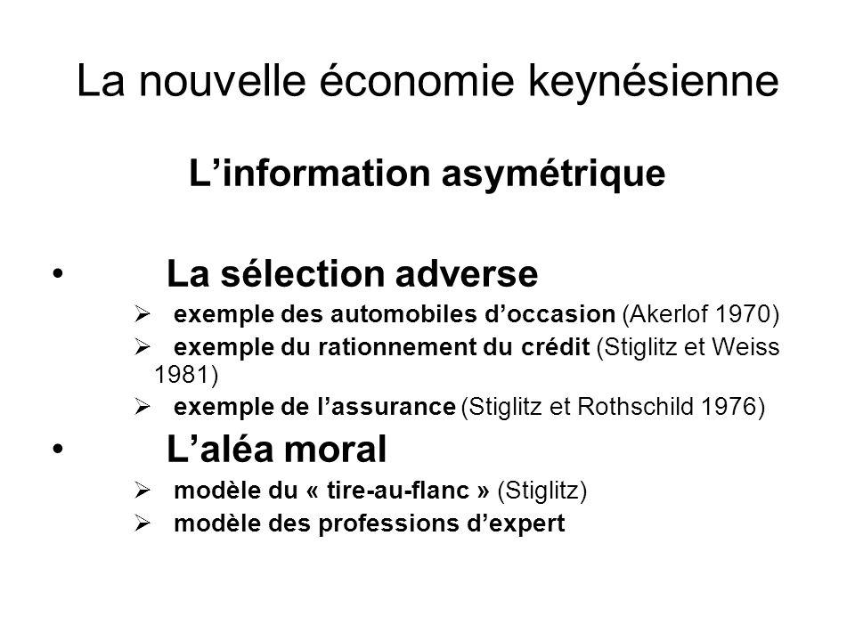 La nouvelle économie keynésienne Linformation asymétrique La sélection adverse exemple des automobiles doccasion (Akerlof 1970) exemple du rationnemen