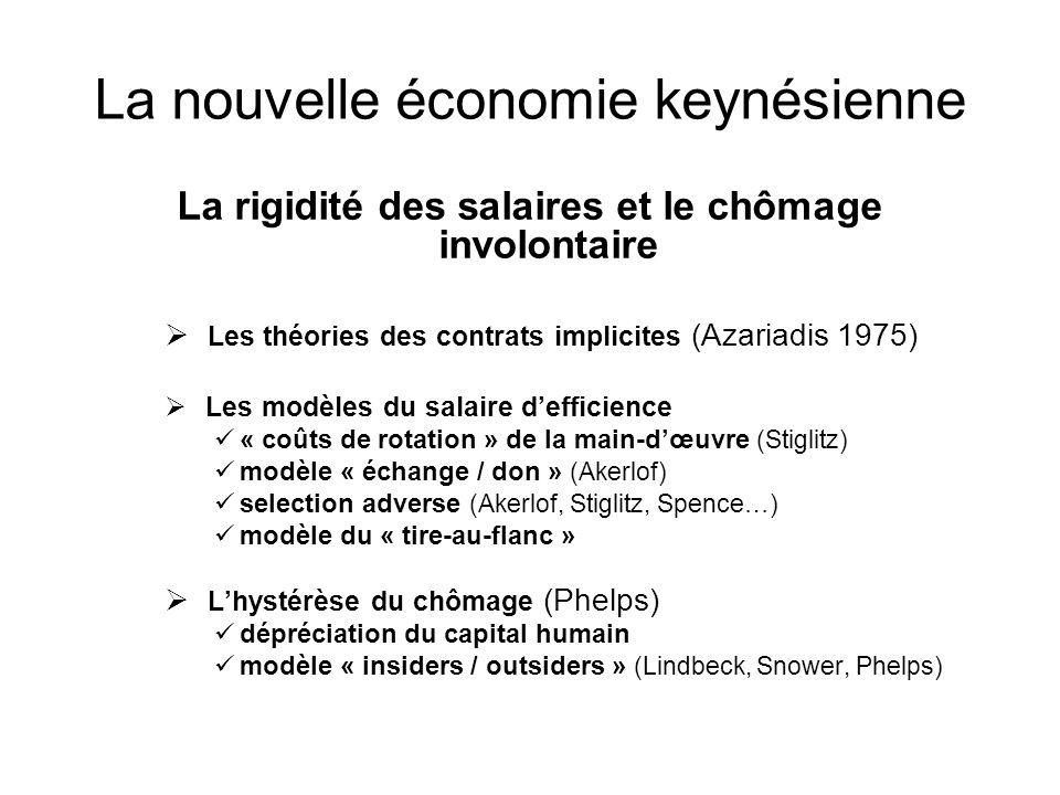 La nouvelle économie keynésienne La rigidité des salaires et le chômage involontaire Les théories des contrats implicites (Azariadis 1975) Les modèles
