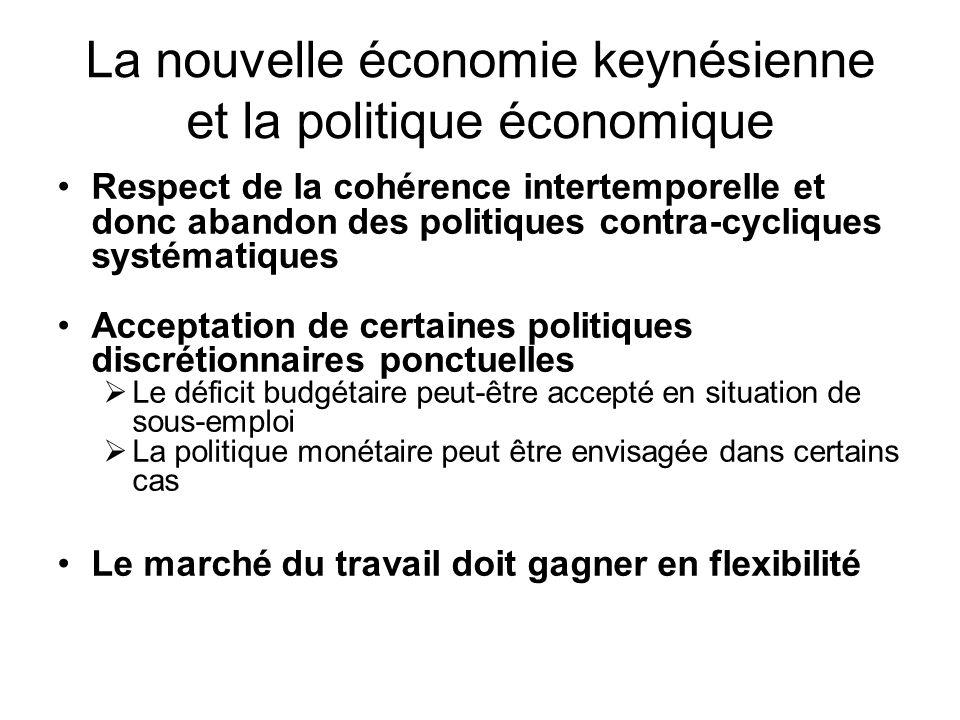 La nouvelle économie keynésienne et la politique économique Respect de la cohérence intertemporelle et donc abandon des politiques contra-cycliques sy