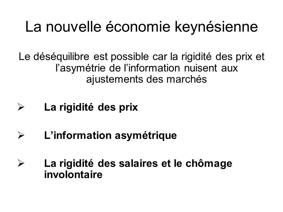 La nouvelle économie keynésienne Le déséquilibre est possible car la rigidité des prix et lasymétrie de linformation nuisent aux ajustements des march