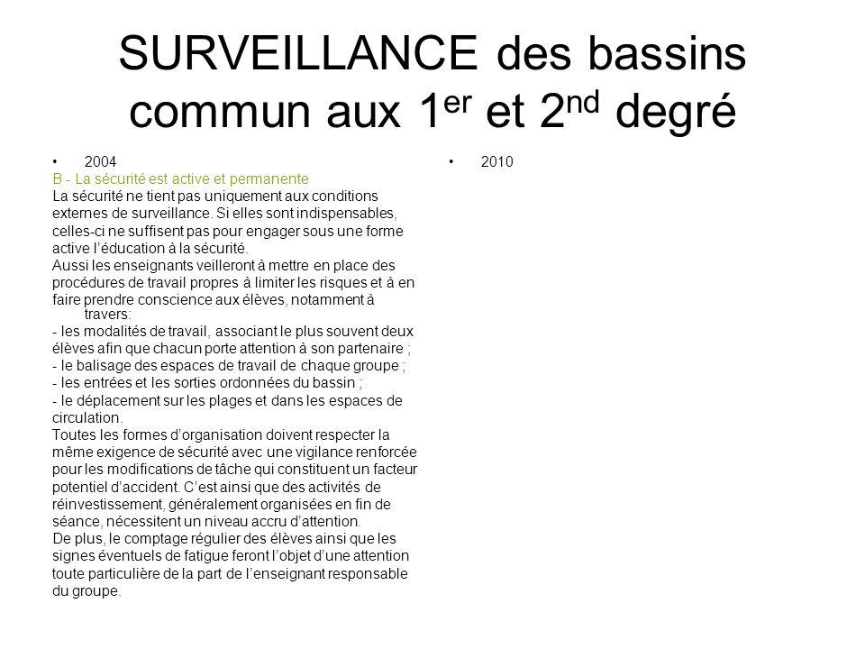 SURVEILLANCE des bassins commun aux 1 er et 2 nd degré 2004 B - La sécurité est active et permanente La sécurité ne tient pas uniquement aux condition