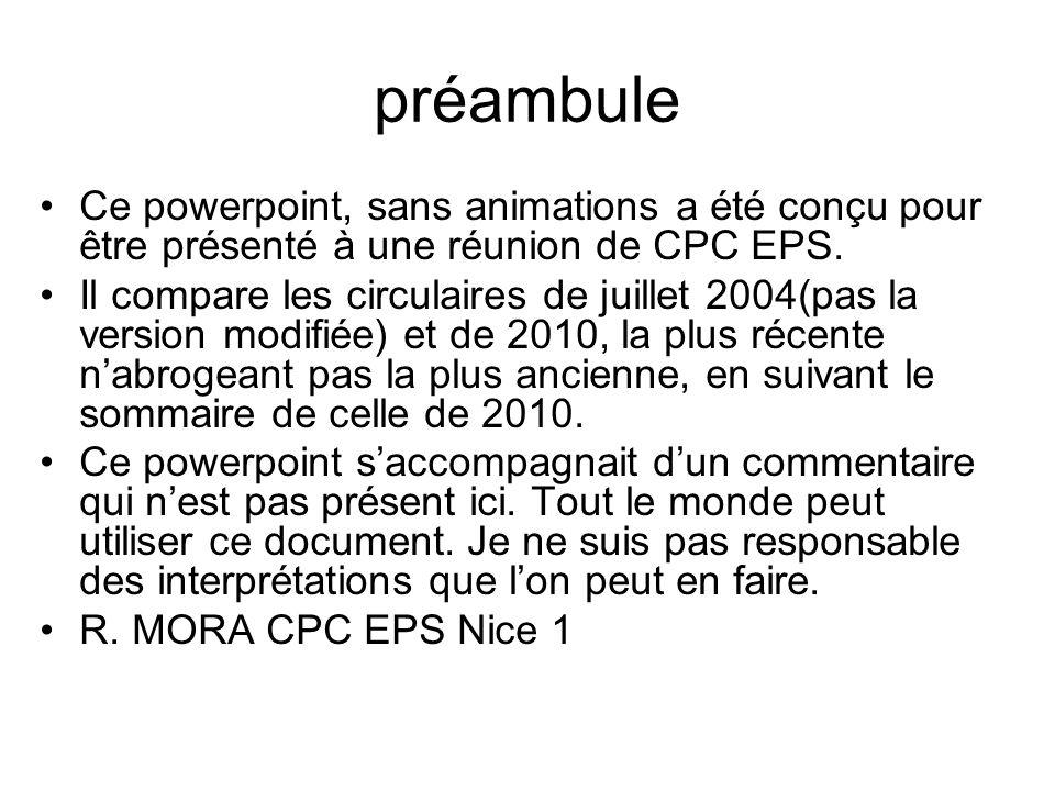 préambule Ce powerpoint, sans animations a été conçu pour être présenté à une réunion de CPC EPS. Il compare les circulaires de juillet 2004(pas la ve