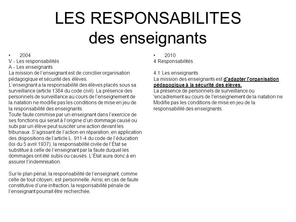 LES RESPONSABILITES des enseignants 2004 V - Les responsabilités A - Les enseignants La mission de lenseignant est de concilier organisation pédagogiq