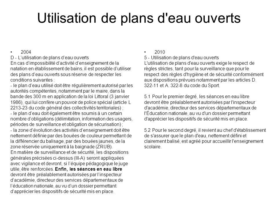 Utilisation de plans d'eau ouverts 2004 D - Lutilisation de plans deau ouverts En cas dimpossibilité dactivité denseignement de la natation en établis