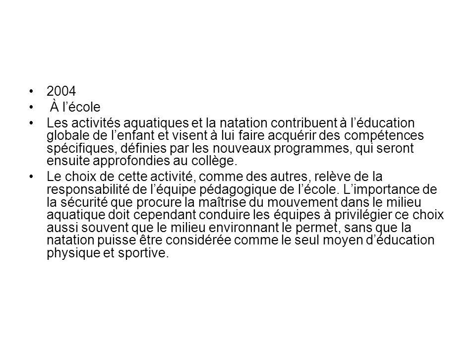 2004 À lécole Les activités aquatiques et la natation contribuent à léducation globale de lenfant et visent à lui faire acquérir des compétences spéci