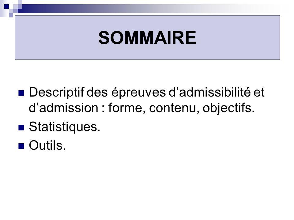 SOMMAIRE Descriptif des épreuves dadmissibilité et dadmission : forme, contenu, objectifs. Statistiques. Outils.