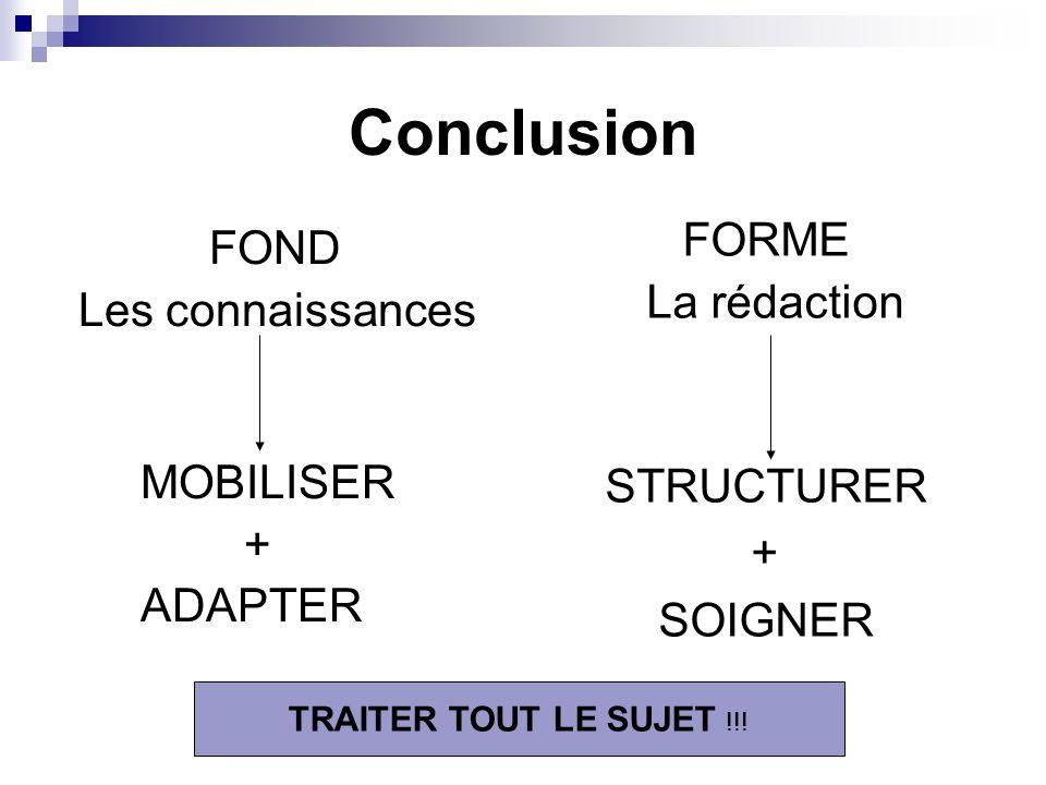 FOND Les connaissances MOBILISER + ADAPTER Conclusion FORME La rédaction STRUCTURER + SOIGNER TRAITER TOUT LE SUJET !!!