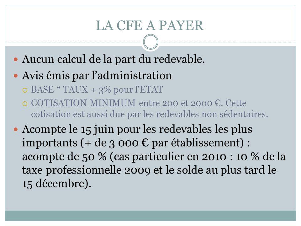 Des obligations déclaratives limitées pour la CFE : OBLIGATIONS DECLARATIVES LIMITEES. La CFE est établie par voie de rôle par ladministration fiscale