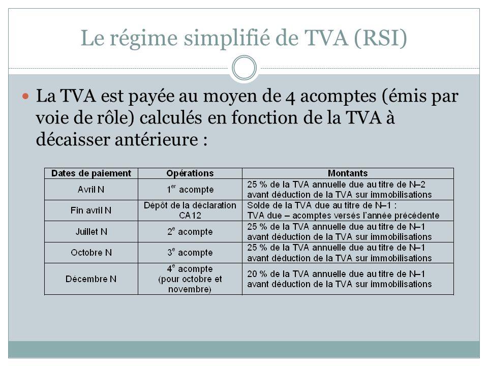 4. Retours sur quelques points fiscaux Les régimes de TVA :
