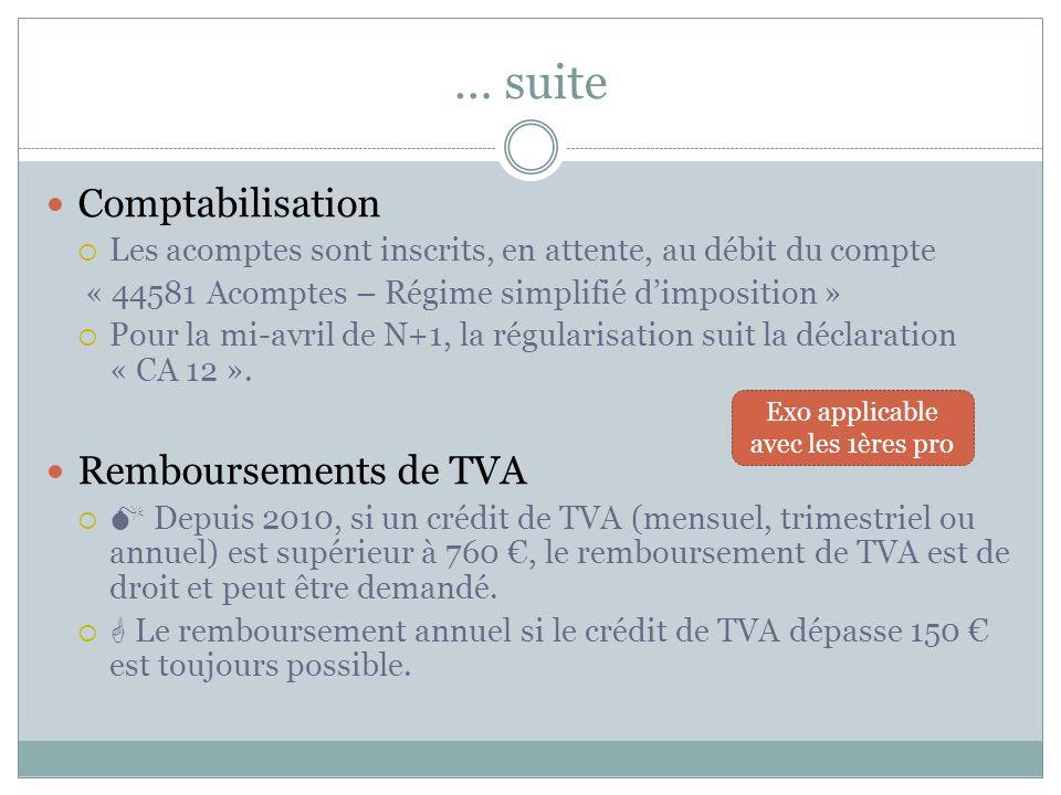 Le régime simplifié de TVA (RSI) La TVA est payée au moyen de 4 acomptes (émis par voie de rôle) calculés en fonction de la TVA à décaisser antérieure