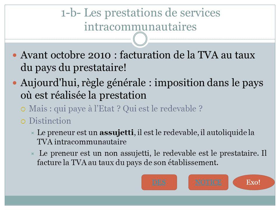 1-b- Les prestations de services intracommunautaires Avant octobre 2010 : facturation de la TVA au taux du pays du prestataire.