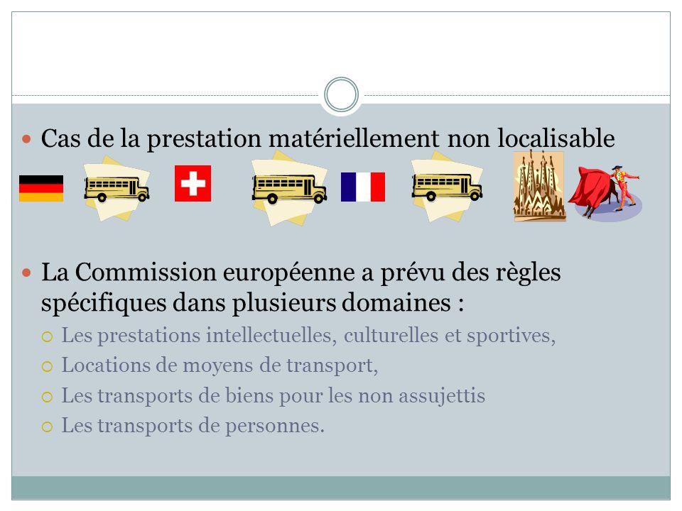 La Commission européenne a prévu des règles spécifiques dans plusieurs domaines : Les prestations intellectuelles, culturelles et sportives, Locations de moyens de transport, Les transports de biens pour les non assujettis Les transports de personnes.