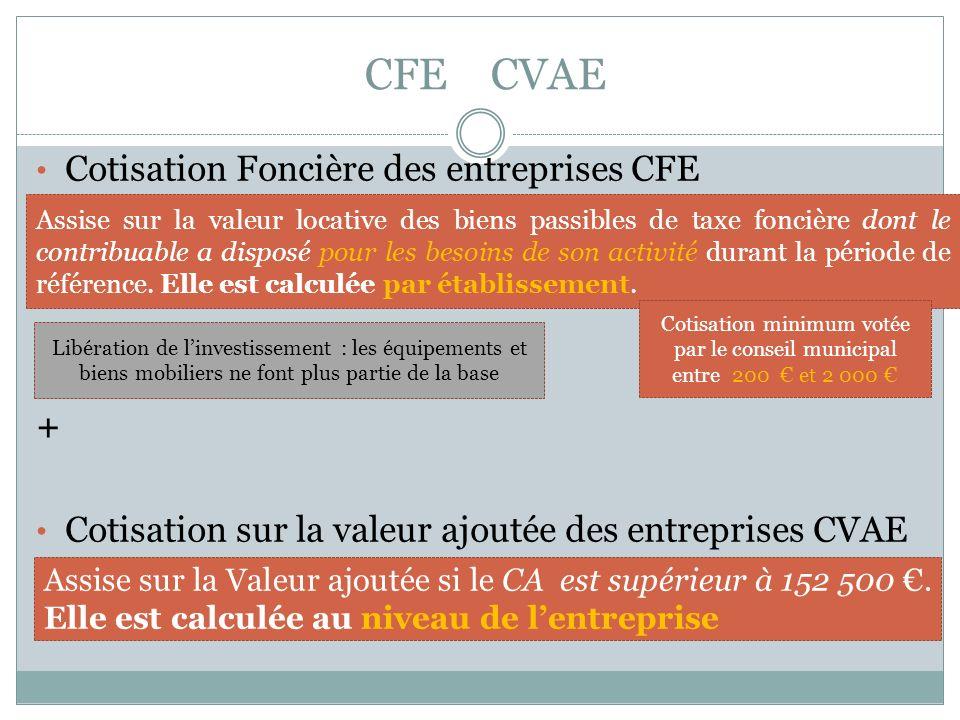 CFE CVAE Cotisation Foncière des entreprises CFE + Cotisation sur la valeur ajoutée des entreprises CVAE Assise sur la valeur locative des biens passibles de taxe foncière dont le contribuable a disposé pour les besoins de son activité durant la période de référence.