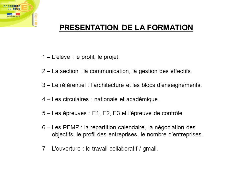 PRESENTATION DE LA FORMATION 1 – Lélève : le profil, le projet. 2 – La section : la communication, la gestion des effectifs. 3 – Le référentiel : larc