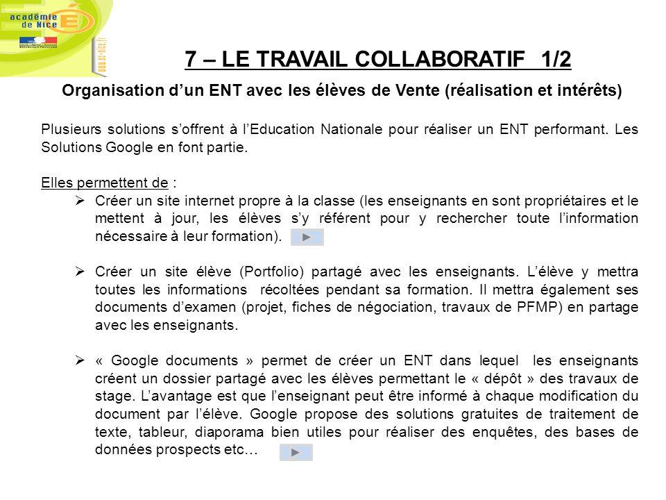 7 – LE TRAVAIL COLLABORATIF 1/2 Organisation dun ENT avec les élèves de Vente (réalisation et intérêts) Plusieurs solutions soffrent à lEducation Nati