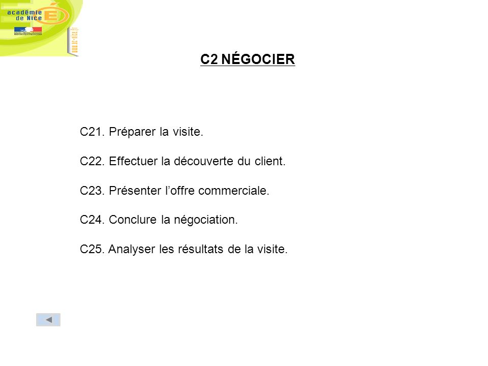 C2 NÉGOCIER C21. Préparer la visite. C22. Effectuer la découverte du client. C23. Présenter loffre commerciale. C24. Conclure la négociation. C25. Ana