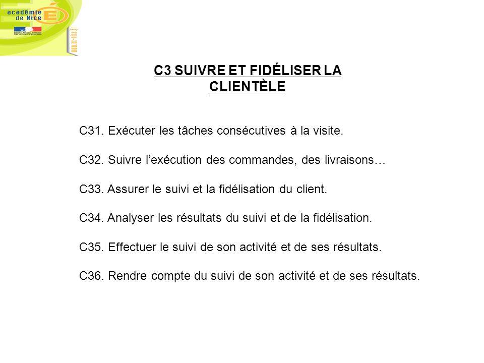 C3 SUIVRE ET FIDÉLISER LA CLIENTÈLE C31. Exécuter les tâches consécutives à la visite. C32. Suivre lexécution des commandes, des livraisons… C33. Assu