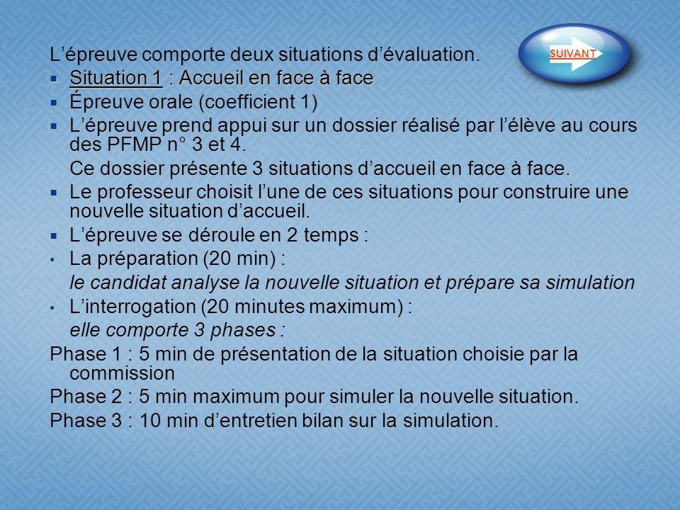 Lépreuve comporte deux situations dévaluation. Situation 1 : Accueil en face à face Situation 1 : Accueil en face à face Épreuve orale (coefficient 1)