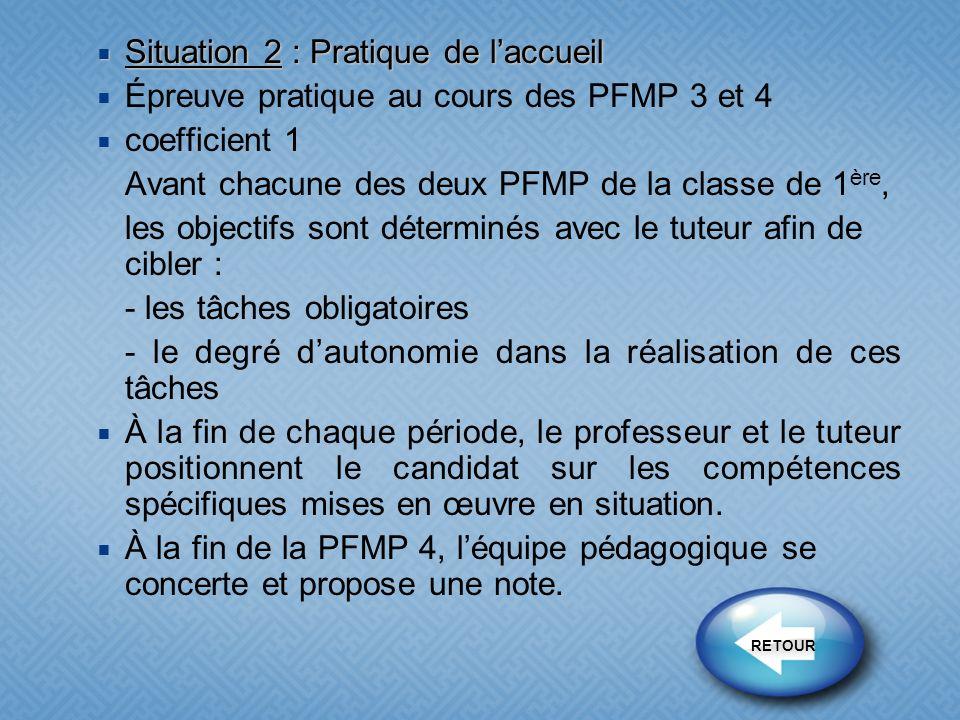Situation 2 : Pratique de laccueil Situation 2 : Pratique de laccueil Épreuve pratique au cours des PFMP 3 et 4 coefficient 1 Avant chacune des deux P
