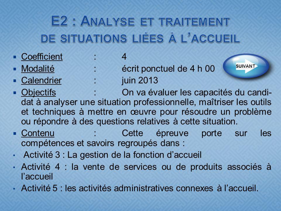 Coefficient:4 Modalité :écrit ponctuel de 4 h 00 Calendrier:juin 2013 Objectifs : On va évaluer les capacités du candi- dat à analyser une situation p