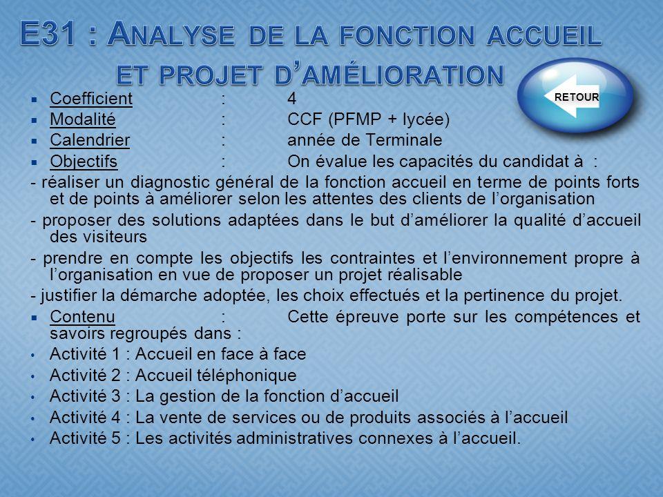 Coefficient:4 Modalité :CCF (PFMP + lycée) Calendrier:année de Terminale Objectifs : On évalue les capacités du candidat à : - réaliser un diagnostic