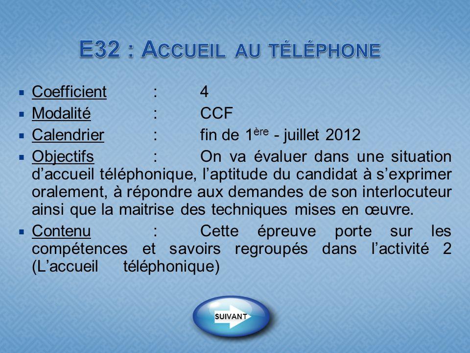 Coefficient:4 Modalité :CCF Calendrier:fin de 1 ère - juillet 2012 Objectifs : On va évaluer dans une situation daccueil téléphonique, laptitude du ca