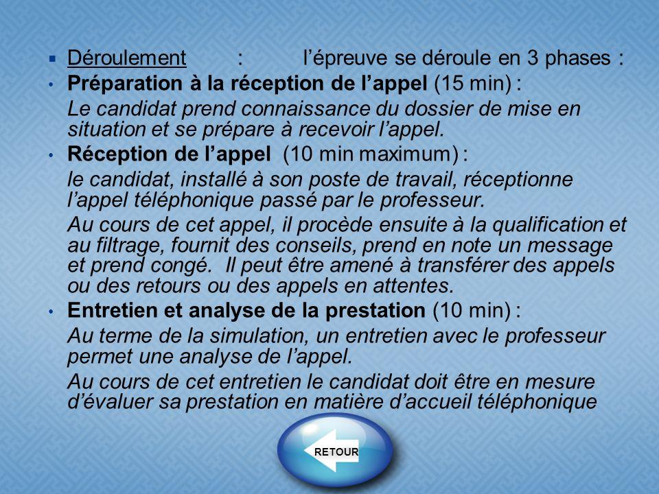 Déroulement:lépreuve se déroule en 3 phases : Préparation à la réception de lappel (15 min) : Le candidat prend connaissance du dossier de mise en sit