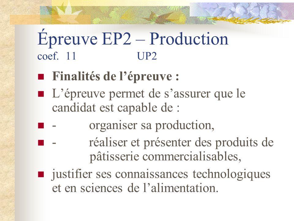 Épreuve EP2 – Production coef.