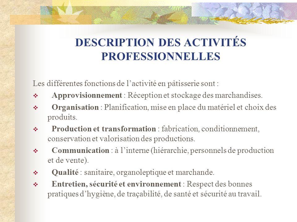 DESCRIPTION DES ACTIVITÉS PROFESSIONNELLES Les différentes fonctions de lactivité en pâtisserie sont : Approvisionnement : Réception et stockage des marchandises.